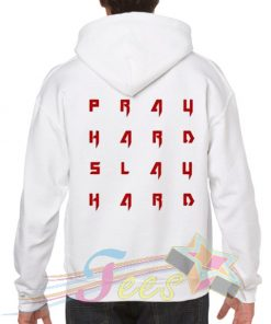 Cheap Graphic Pray Hard Slay Hard Pullover Hoodie